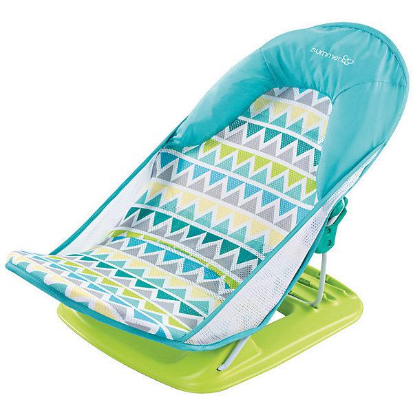 Лежак для купания Deluxe Baby Bather, Summer Infant, голубой, зигзагТовары для купания<br>Лежак для купания в ванну Deluxe Baby Bather от Summer Infant обеспечит оптимальную поддержку при купании малыша.<br>С мягким подголовником.<br>Спинка имеет 3 положения.<br>Тканевая основа лежака устойчива к появлению плесени, а также легко снимается и стирается в стиральной машине.<br>Можно установить как в ванной, так и в раковине.<br>Компактный.<br>Прост и удобен в применении.<br>Рекомендовано для детей от 0 до 3 месяцев<br>Ширина мм: 610; Глубина мм: 325; Высота мм: 335; Вес г: 2000; Возраст от месяцев: 0; Возраст до месяцев: 3; Пол: Унисекс; Возраст: Детский; SKU: 6856033;