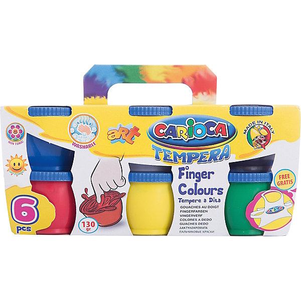 CARIOCA Краски пальчиковые 6 цветовПальчиковые краски<br>Характеристики товара:<br><br>• в комплекте: 6 баночек с краской (6 цветов);<br>• фартук в комплекте;<br>• объем баночки: 135 грамм;<br>• размер упаковки: 10х10х17 см;<br>• вес: 667 грамм;<br>• возраст: от 3 лет.<br><br>Пальчиковые краски подходят даже для самых маленьких художников. Для рисования не нужны кисти, ведь рисовать можно руками, пальчиками или даже ножками. В набор от CARIOCA входят 6 баночек с краской. Оттенки можно смешивать для получения новых, насыщенных цветов. После рисования краски быстро смываются водой, не оставляя следов.<br><br>В комплект входит фартук, защищающий одежду малыша от загрязнений. Краски изготовлены из экологически чистых материалов, безопасных для детей.<br><br>CARIOCA (Кариока) Краски пальчиковые 6 цветов можно купить в нашем интернет-магазине.<br>Ширина мм: 170; Глубина мм: 100; Высота мм: 100; Вес г: 667; Возраст от месяцев: 36; Возраст до месяцев: 168; Пол: Унисекс; Возраст: Детский; SKU: 6859004;