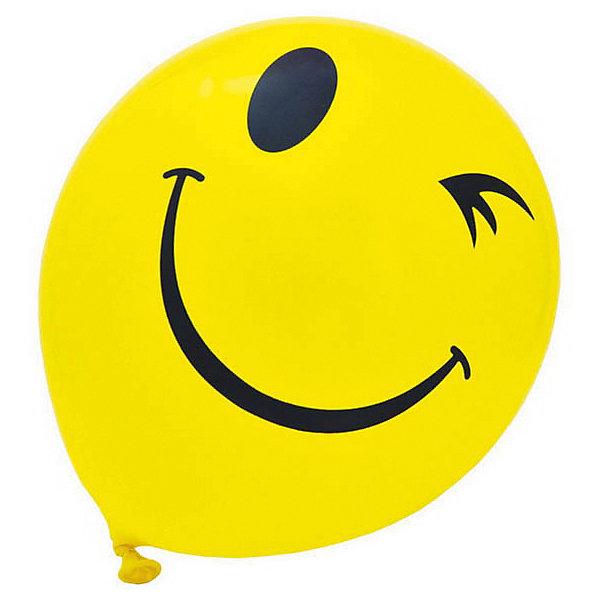 ACTION! Воздушные шары Смайлы, одноцветный рисунок, 30см, 20 шт action шары воздушные металлизированные 30 см 20 шт