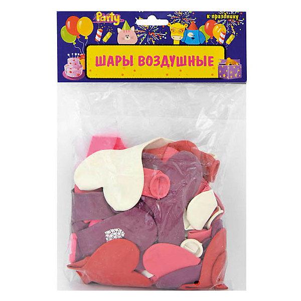 """ACTION! Воздушные шары """"Сердечки"""", разноцветные, c принтом, 50 шт"""