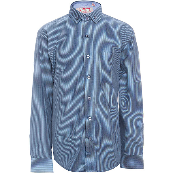 Рубашка для мальчика ImperatorБлузки и рубашки<br>Характеристики товара:<br><br>• цвет: синий<br>• состав ткани: 65% хлопок, 35% полиэстер<br>• особенности: школьная, праздничная<br>• застежка: пуговицы<br>• рукава: длинные<br>• сезон: круглый год<br>• страна бренда: Российская Федерация<br>• страна изготовитель: Китай<br><br>Стильная классическая сорочка для мальчика - отличный вариант практичной и стильной школьной одежды.<br><br>Накладной карман, свободный покрой, дышащая ткань с преобладанием хлопка - красиво и удобно.<br><br>Рубашку для мальчика Imperator (Император) можно купить в нашем интернет-магазине.<br>Ширина мм: 174; Глубина мм: 10; Высота мм: 169; Вес г: 157; Цвет: синий; Возраст от месяцев: 120; Возраст до месяцев: 132; Пол: Мужской; Возраст: Детский; Размер: 146/152,152/158,146/152,140/146,134/140,128/134,122/128,164/170,158/164,152/158; SKU: 6860820;