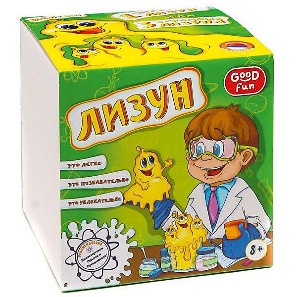 Набор для опытов Лизун, цвет желтый, GOOD FUNЛизуны и жвачки для рук<br>Характеристики:<br><br>• возраст: от 8 лет<br>• в наборе: поливиниловый спирт (порошок), тетраборат натрия (порошок), глицерин, краситель, пластиковый мерный стаканчик, пластиковый цветной стаканчик, перчатки, мерная ложечка, палочка для размешивания, инструкция<br>• дополнительно потребуется: стеклянная банка объемом не менее 0,5 л.<br>• для проведения опыта необходима помощь взрослых<br>• упаковка: картонная коробка<br>• размер упаковки: 12,5х12,5х12,5 см.<br>• вес: 200 гр.<br><br>Набор для опытов «Лизун» позволит ребенку не только весело и с пользой провести время за приготовлением популярной во всем мире игрушки - лизуна, но и познакомится с веществами, которые обладают необычными свойствами - полимерами.<br><br>В набор входят реактивы и приспособления для изготовления трех больших лизунов желтого цвета, которые затем можно соединить в один гигантский весом около 400 граммов. Готовый лизун может принимать ту форму, в которую его поместят, он отлично отделяется от поверхностей и кожи, оставаясь пластичным и вязким.<br><br>Набор для опытов «Лизун» от GOOD FUN (ГУД ФАН) – это легко, познавательно и увлекательно.<br><br>Набор для опытов Лизун, цвет желтый, GOOD FUN (ГУД ФАН) можно купить в нашем интернет-магазине.<br>Ширина мм: 125; Глубина мм: 125; Высота мм: 125; Вес г: 250; Возраст от месяцев: 96; Возраст до месяцев: 2147483647; Пол: Унисекс; Возраст: Детский; SKU: 6863123;