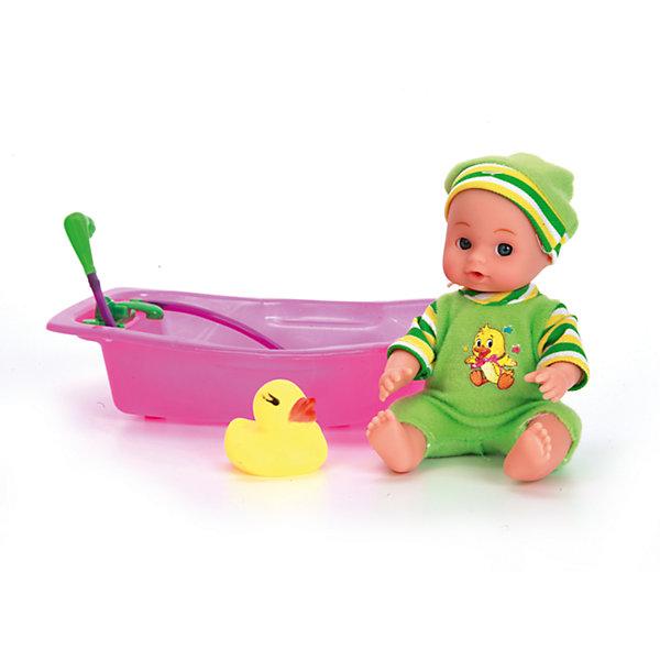 КАРАПУЗ Пупс 15 см, 3 функции, в ванночке, с аксессуарами, Карапуз куклы карапуз пупс 30см с 3 мя функциями с аксессуарами