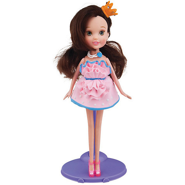 TOY TARGET Набор для лепки с куклой Fashion Dough, Шатенка в розовом сарафане всё для лепки fun dough набор пластилина 4 банки 1 бонус