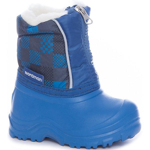 Сноубутсы NordmanСноубутсы<br>Характеристики товара:<br><br>• цвет: синий<br>• материал верха: текстиль (dewspo)<br>• галоша: ЭВА<br>• подклад: 100% полиэстер<br>• стелька: шерстяной мех<br>• подошва: ЭВА<br>• сезон: зима<br>• температурный режим: от 0 до -15<br>• застежка: молния<br>• непромокаемые<br>• подошва не скользит<br>• анатомические <br>• страна бренда: Россия<br>• страна изготовитель: Россия<br><br>Сноубутсы для мальчика Nordman позволяют сохранить ноги в тепле и одновременно не дают им промокнуть. Такая обувь отлично подходит для снежной зимы или слякоти в межсезонье. <br><br>Высокое голенище из непромокаемой ткани предотвращает попадание снега в сапог. Меховая подкладка обеспечивает комфортные условия для ног благодаря способности материала впитывать влагу.<br><br>Сноубутсы для мальчика Nordman (Нордман) можно купить в нашем интернет-магазине.