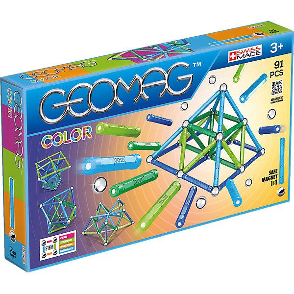 Магнитный конструктор Geomag Color, 91 детальМагнитные конструкторы<br>Характеристики:<br><br>• возраст: от 3 лет;<br>• материал: пластик, металл, магнит;<br>• количество деталей: 91;<br>• в наборе: 44 палочки, 42 стальных шарика, 5 платформ;<br>• вес упаковки: 1,13 кг.;<br>• размер упаковки: 38х5х22 см;<br>• страна бренда: Швейцария.<br><br>Из магнитного конструктора Geomag Color можно собрать бесконечное количество объемных геометрических фигур и сооружений. Детали в виде палочек с магнитами легко соединяются между собой. Для объемной сборки между ними вставляются металлические шарики. Набор сочетается с другими конструкторами Geomag.