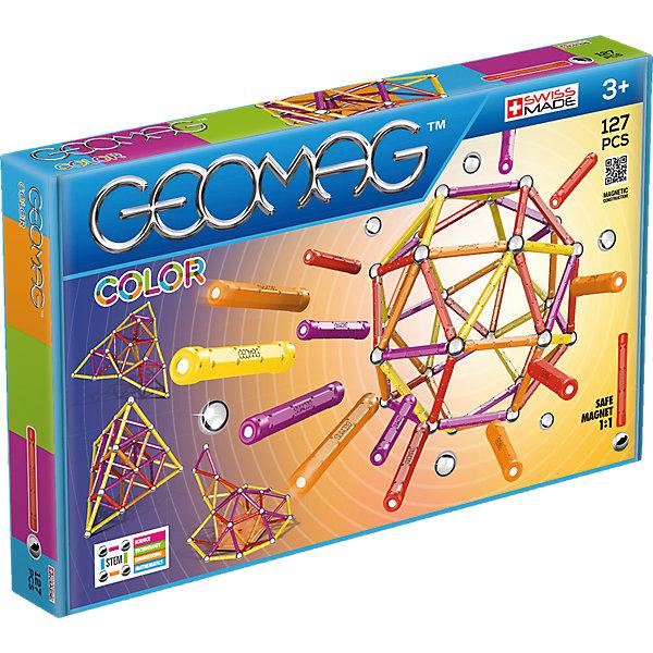 Магнитный конструктор Geomag Color, 127 деталейМагнитные конструкторы<br>Характеристики:<br><br>• возраст: от 3 лет;<br>• материал: пластик, металл, магнит;<br>• количество деталей: 127;<br>• в наборе: 60 палочек, 61 стальной шарик, 6 платформ;<br>• вес упаковки: 1,5 кг.;<br>• размер упаковки: 42х5х26 см;<br>• страна бренда: Швейцария.<br><br>Из магнитного конструктора Geomag Color можно собрать бесконечное количество объемных геометрических фигур и сооружений. Детали в виде палочек с магнитами легко соединяются между собой. Для объемной сборки между ними вставляются металлические шарики. Набор сочетается с другими конструкторами Geomag.<br>Ширина мм: 423; Глубина мм: 261; Высота мм: 53; Вес г: 1440; Цвет: синий; Возраст от месяцев: 60; Возраст до месяцев: 120; Пол: Унисекс; Возраст: Детский; SKU: 6870230;