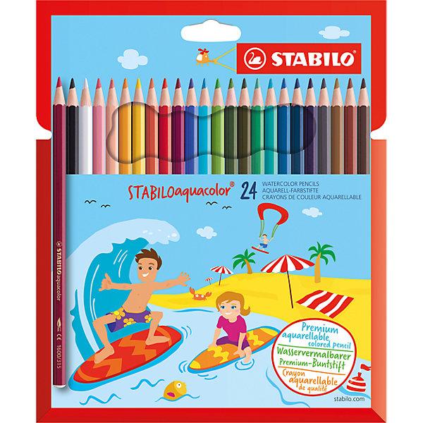 STABILO Карандаши цветные 24цв AQUACOLOR stabilo stabilo цветные карандаши woody супертолстые 6 цветов с точилкой