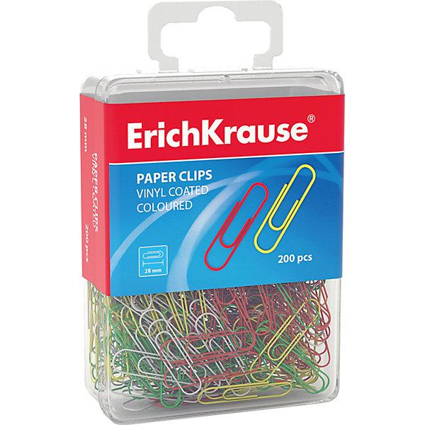 Erich Krause Erich Krause Скрепки цветные, 28 мм, в пласт. коробочке, 200 шт. erich krause набор тетрадей родные просторы пруд 24 листа в линейку 10 шт