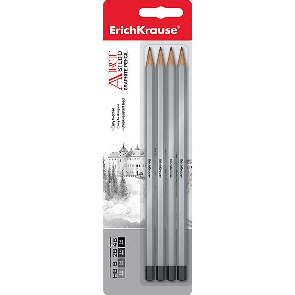 Erich Krause Чернографитный карандаш ART-STUDIO (HB,B,2B,4B) шестигранный, заточенный, в наборе из 4 штук (блистер)Карандаши<br>Характеристики товара:<br><br>• в комплекте: 4 карандаша;<br>• твердость: HB, B, 2B, 4B;<br>• размер упаковки: 1,5х6х20 см;<br>• вес: 37 грамм.<br><br>В набор от известного бренда Erich Krause входят четыре чернографитных карандаша с разной твердостью: HB, B, 2B, 4B. Карандаши имеют прочный шестигранный корпус, легко затачиваются, не крошатся. Такой набор отлично подойдет для рисования и черчения.<br><br>Erich Krause (Эрих Краузе) Чернографитный карандаш ART-STUDIO (HB,B,2B,4B) шестигранный, заточенный, в наборе из 4 штук (блистер) можно купить в нашем интернет-магазине.<br>Ширина мм: 200; Глубина мм: 60; Высота мм: 15; Вес г: 36; Возраст от месяцев: 144; Возраст до месяцев: 2147483647; Пол: Унисекс; Возраст: Детский; SKU: 6878841;