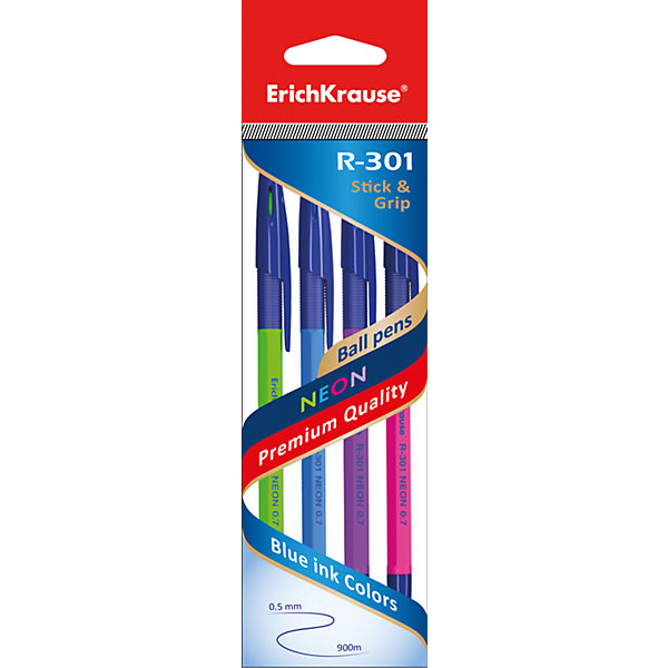 Erich Krause Erich Krause Ручка шариковая R-301 NEON 0,7мм цветные Stick&Grip в наборе из 4 штук erich krause набор шариковых ручек r 301 classic 1 0 stick
