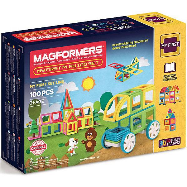 Магнитный конструктор 702012 My First Play 100, MAGFORMERSМагнитные конструкторы<br>Характеристики товара:<br><br>• возраст: от 1,5 лет;<br>• материал: пластик;<br>• в комплекте: 100 деталей, 2 книги с занятиями, инструкция;<br>• размер упаковки: 51х31х10 см;<br>• вес упаковки: 2,5 кг;<br>• страна производитель: Корея.<br><br>Магнитный конструктор My First Play 100 Magformers позволит детям построить из элементов разнообразные фигурки, дома, башни, машины, животных. Детали конструктора соединяются между собой благодаря магнитам. Магниты внутри деталей уже сделаны таким образом, что позволяют элементам присоединяться и поворачиваться друг к другу нужной стороной.<br><br>В набор входит инструкция, которая поможет малышам создать свои первые фигурки. Конструктор развивает у детей пространственное и логическое мышление, мелкую моторику рук, воображение и фантазию. Элементы выполнены из прочного качественного пластика.<br><br>Магнитный конструктор My First Play 100 Magformers можно приобрести в нашем интернет-магазине.<br>Ширина мм: 350; Глубина мм: 510; Высота мм: 100; Вес г: 2500; Возраст от месяцев: 180; Возраст до месяцев: 2147483647; Пол: Унисекс; Возраст: Детский; SKU: 6881956;
