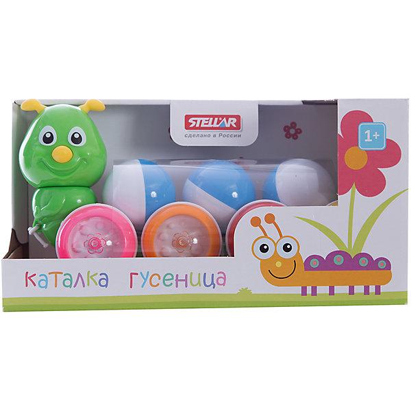 Стеллар Каталка Гусеница с шариками, Стеллар-М каталки игрушки bondibon игрушка деревянная каталка с веревочкой гусеница bох