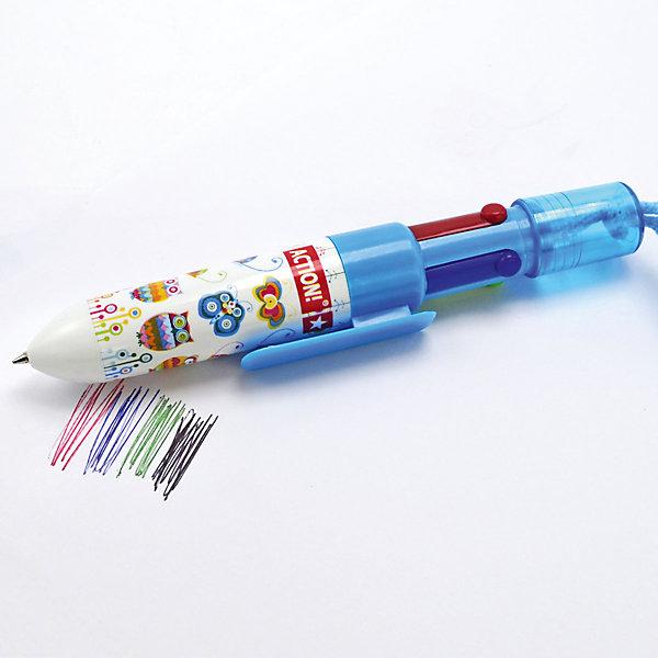 Ручка шариковая Action!, 4 цвета в одной ручкеРучки<br>Характеристики товара:<br><br>• 4 цвета в одной ручке;<br>• цвета чернил: синий, черный, красный, зеленый;<br>• пластиковый корпус;<br>• шнурок в комплекте;<br>• диаметр шарика: 0,7 мм;<br>• размер упаковки: 2х2х14 см:<br>• вес: 17 грамм;<br>• возраст: от 3 лет.<br><br>Многоцветная ручка от ACTION! отличается компактностью и удобством в использовании. Пластиковый корпус ручки содержит 4 стержня разных цветов: синий, черный, красный, зеленый. Для удобства ношения в верхней части ручки есть плотный шнурок из качественного текстиля.<br><br>ACTION! (Экшен!) ручку шариковую многоцветную, 4 цвета можно купить в нашем интернет-магазине.<br>Ширина мм: 140; Глубина мм: 20; Высота мм: 20; Вес г: 17; Возраст от месяцев: 36; Возраст до месяцев: 2147483647; Пол: Унисекс; Возраст: Детский; SKU: 6884866;