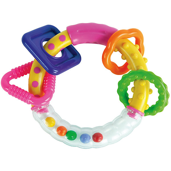 Погремушка-прорезыватель Жирафики Звонкое колечко, розовоеИгрушки для новорожденных<br>Характеристики:<br><br>• удобная форма;<br>• развивающие элементы;<br>• дуга-прорезыватель;<br>• возраст: от 1 месяца;<br>• материал: пластик;<br>• размер упаковки: 20х3х15 см;<br>• вес: 84 грамма;<br>• страна бренда: Россия.<br><br>Забавную игрушку Звонкие колечки можно использовать как погремушку или прорезыватель для молочных зубов. Игрушка выполнена в виде колечка, на которое нанизаны разноцветные фигуры. При движении шарики внутри колечка и фигурки начинают издавать звуки, как настоящая погремушка. <br><br>Рельефная форма игрушки поможет развить мелкую моторику, что способствует развитию умственных способностей малыша. Кроме того, рельефная поверхность будет мягко массировать десны крохи в период прорезывания зубов.<br><br>Погремушку-прорезыватель Звонкое колечко, розовое, Жирафики можно купить в нашем интернет-магазине.<br>Ширина мм: 150; Глубина мм: 30; Высота мм: 300; Вес г: 84; Возраст от месяцев: 1; Возраст до месяцев: 2147483647; Пол: Женский; Возраст: Детский; SKU: 6885299;