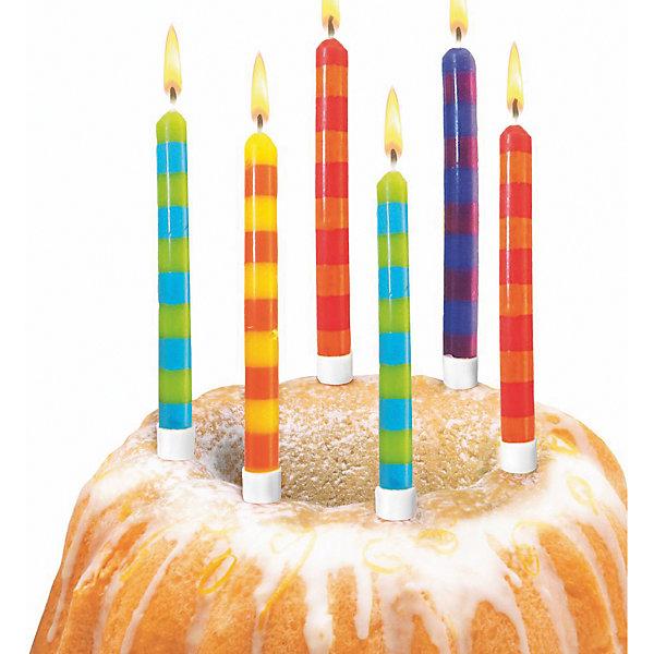 herlitz Свечи для торта в полоску, 12 шт, подсвечн., парафин, блистер