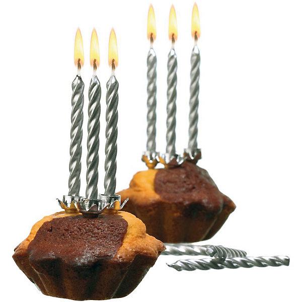Susy Card Свечи для торта, 10 шт, подсвечн., серебро, парафин