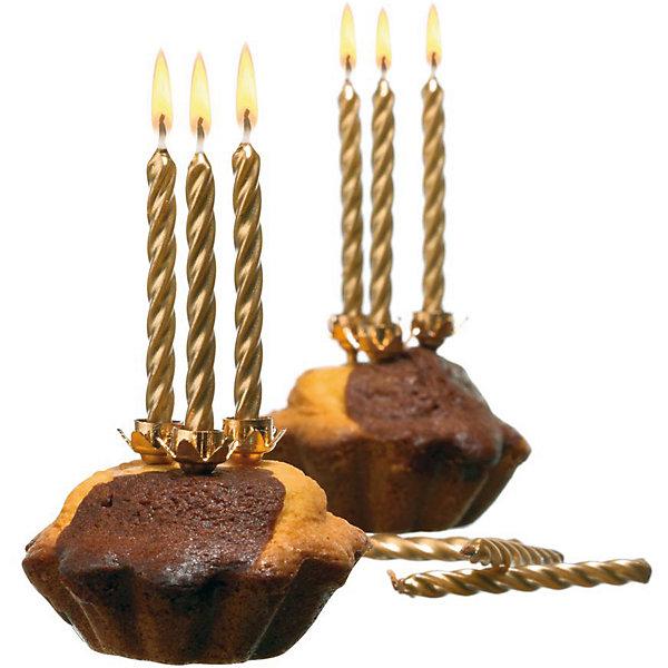 herlitz Свечи для торта, 10 шт, 10 подсвечн., золото, парафин бумага herlitz 20х28 10 листов 10 цветов для поделок