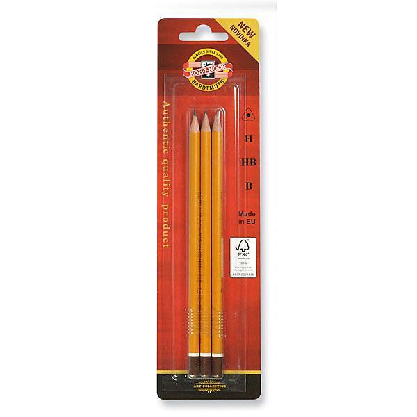 KOH-I-NOOR Набор карандашей чернографитных, 3 штКарандаши<br>Заточенный чернографитный  карандаш. Трехгранный корпус желтого цвета, торцевая часть выпуклая, окрашена в коричневый цвет с белым ободком. Диаметр грифеля - 2мм. Длина стержня - 175мм. 3 штуки (твердость В, Н, НВ)<br>Ширина мм: 200; Глубина мм: 70; Высота мм: 10; Вес г: 39; Возраст от месяцев: 36; Возраст до месяцев: 168; Пол: Унисекс; Возраст: Детский; SKU: 6888697;