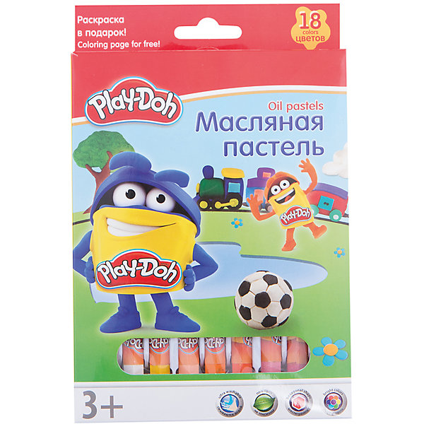 Kinderline Play-Doh Масляная пастель 18 цветов в картонной коробке + 2 раскраски Размер 19,8 х 13 х 1,8 см. набор для рисования play doh необычное яйцо cpdo062