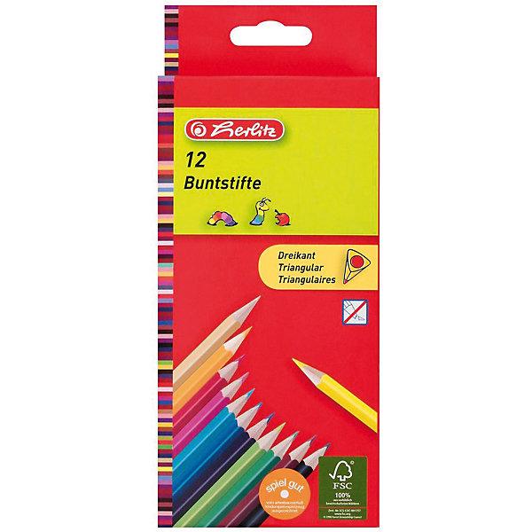 herlitz Herlitz Карандаши цветные трехгранные, 12шт бумага herlitz 20х28 10 листов 10 цветов для поделок