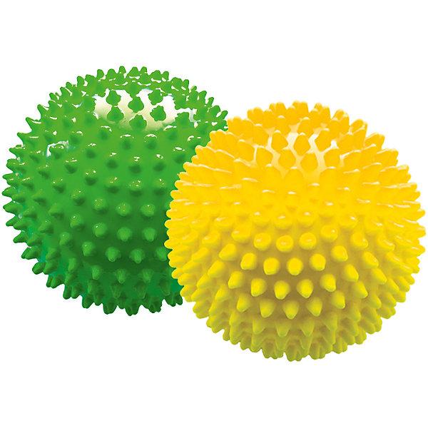 Малышок Набор мячей ёжиков, желтый и зеленый, 12 см, МалышОК