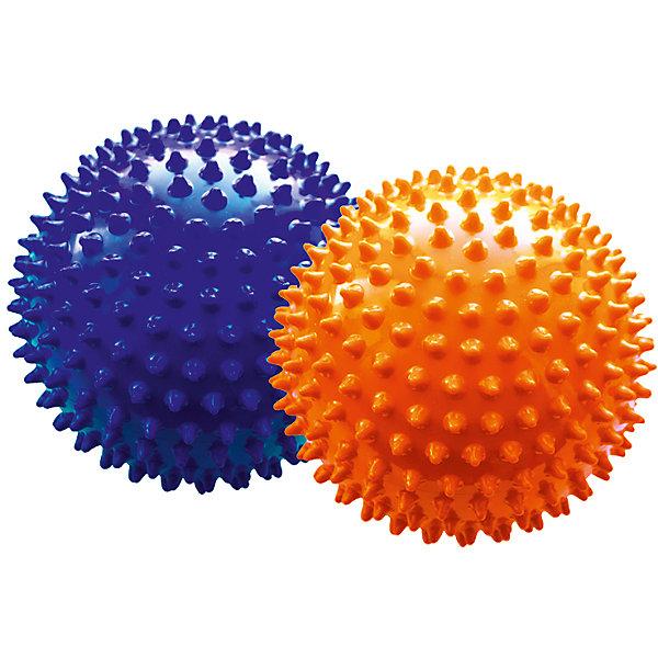 Малышок Набор мячей ёжиков, оранжевый и синий, 12 см, МалышОК