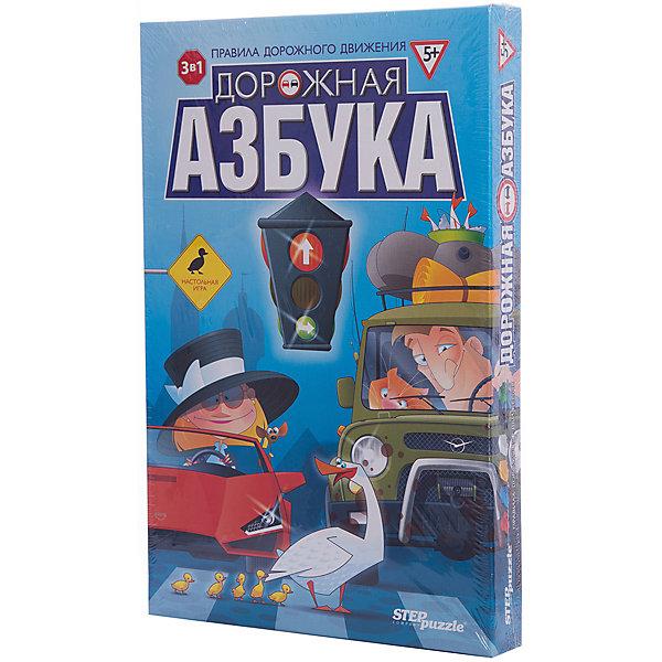 Настольная игра Дорожная азбука, Step PuzzleИгры ходилки<br>Характеристики:<br><br>• размер упаковки: 37,7х4х24,5 см.;<br>• состав: картон, дерево, пластик;<br>• вес: 658 г.;<br>• для детей в возрасте: от 5 лет;<br>• количество игроков: 2-6;<br>• приблизительное время партии: 10-30 мин.;<br>• комплектация: двухстороннее поле, 2 типа кубиков, машинки-фишки, карточки, правила игры;<br>• страна производитель: Россия.<br><br>Классическая игра типа «ходилка» представлена известным брендом Step Puzzle (Степ Пазл) в новой концепции правил дорожного движения. Теперь дети смогут ознакомиться с дорожным движением в интересной игровой форме. <br><br>Вместе с фишками-машинками дети примут участие в дорожном движении, специальный кубик покажет как работает светофор. Предлагается три увлекательных варианта игры: маршрут со светофором; маршрут со специальными заданиями по дорожным знакам; игра на память, где нужно угадывать расположение и наименование дорожных знаков. В игру могут играть до шести игроков, а её правила не требуют долгих объяснений.<br><br>Играя в настольные игры дети развивают внимательность, логическое мышление, память, навыки коммуникаций и не только. В игровой форме дети тренируются в решении задач и быстрому использованию правил, расширяя свой кругозор. В эту игру будет интересно играть как на внеклассных занятиях, так и дома.<br><br>Настольную игру «Дорожная азбука», Step Puzzle (Степ Пазл) можно купить в нашем интернет-магазине.