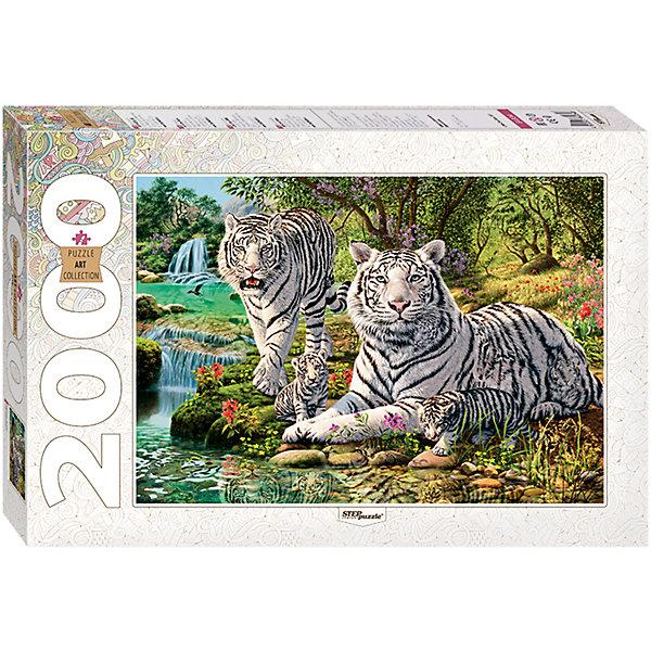 Пазл, 2000 деталей, Сколько тигров?, Step PuzzleПазлы классические<br>Характеристики:<br><br>• количество деталей: 2000 шт.;<br>• размер упаковки: 40,0х27,0х5.5 см.;<br>• размер готовой картинки: 96,0х68.0 см.;<br>• состав: картон;<br>• вес: 1,180 кг.;<br>• для детей в возрасте: от 8 лет;<br>• страна производитель: Россия.<br><br>Пазл «Сколько тигров?» из серии «Art Collektion» в жесткой стильной упаковке характерной для этой коллекционной серии бренда «Steppuzzle» (Степ Пазл)compani станет прекрасным дополнением для коллекции пазлов.<br>На ярком, красочном пазле изображено семейство бенгальских тигров на реке с водопадами на фоне природы. Собрав картинку узнаешь сколько зверей. Пазл соответствует высоким стандартам, которые подтверждены сертификатами качества.<br><br>Детали пазла очень красочные и хорошо собираются, картинки одинакового цвета немного усложняют сборку. Они подойдут не только деткам, но и родителям уже знакомым с пазлами и новичкам. Склеив части пазла он превратиться красивую картину. Если разобрать, то его можно собирать снова и снова.<br><br>Играя с пазлами дети развивают не только память, внимательность, логическое и пространственное мышление, моторику рук, усидчивость, терпение, но просто весело и с пользой проведут время.<br><br>Пазл «Сколько тигров?» серии «Art Collektion» от компании «Steppuzzle» (Степ Пазл)company можно приобрести в нашем интернет-магазине.<br>Ширина мм: 400; Глубина мм: 270; Высота мм: 55; Вес г: 1180; Возраст от месяцев: 96; Возраст до месяцев: 2147483647; Пол: Унисекс; Возраст: Детский; SKU: 6894221;