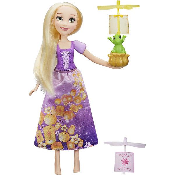 Кукла Disney Princess Рапунцель и фонарикиПопулярные игрушки<br>Характеристики товара:<br><br>• возраст: от 3 лет<br>• материал: пластик, текстиль<br>• в комплекте: кукла, Паскаль, два фонарика<br>• любимый герой: Disney Princess<br>• персонаж: Рапунцель<br>• руки и ноги не сгибаются<br>• упаковка: коробка блистерного типа<br>• вес в упаковке: 1,23 кг.<br>• размер упаковки: 33х20х26<br>• страна бренда: США<br><br>Модная кукла-принцесса Рапунцель обожает фонарики. Ведь запускать их очень просто.  Для этого нужно разместить один из фонариков на голову друга Рапунцель Паскаля и потянуть за шнур, который расположен на спинке куклы, и фонарик взлетит. Принцесса одета в фиолетовый наряд, верхний корсет сделан из пластика, нижняя юбка из текстиля.