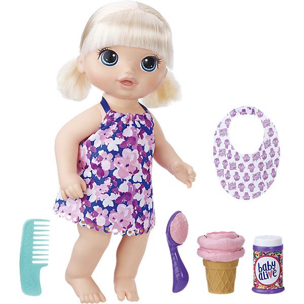 Интерактивная кукла Baby Alive Малышка с мороженнымИнтерактивные куклы<br>Характеристики:<br><br>• возраст: от 3 лет;<br>• материал: пластик, текстиль;<br>• высота игрушки: 31,5 см;<br>• в наборе: кукла, расческа, нагрудник, стаканчик с игрушечным мороженым, ложка с мороженым, баночка с декоративной посыпкой;<br>• размер упаковки: 35х28х8 см;<br>• страна бренда: США.<br><br>Кукла «Малышка с мороженным» Baby Alive от Hasbro выполнена в виде маленькой девочки, которая одета в легкое платьице и отправляется на прогулку.<br><br>Волосы куклы можно расчесывать и делать прически. Аксессуары из набора помогут позаботиться о крохе. Куколка с удовольствием попробует мороженое, которое «приготовит» для нее ребенок. Набор сделан из качественных безопасных материалов.<br> <br>Куклу «Малышка с мороженным», Baby Alive, Hasbro можно купить в нашем интернет-магазине.<br>Ширина мм: 389; Глубина мм: 266; Высота мм: 121; Вес г: 675; Возраст от месяцев: 36; Возраст до месяцев: 72; Пол: Женский; Возраст: Детский; SKU: 6898148;