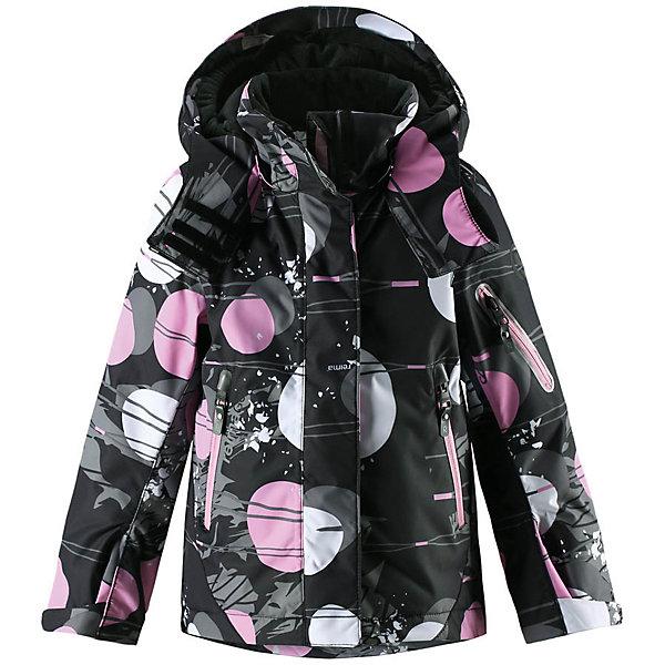Куртка Reimatec® Reima Roxana для девочкиОдежда<br>Характеристики товара:<br><br>• цвет: черный;<br>• 100% полиэстер;<br>• утеплитель: 100% полиэстер, 140 г/м2;<br>• сезон: зима;<br>• температурный режим: от 0 до -20С;<br>• водонепроницаемость: 15000 мм;<br>• воздухопроницаемость: 7000 мм;<br>• износостойкость: 30000 циклов (тест Мартиндейла)<br>• ветронепроницаемый, дышащий материал;<br>• водо- грязеотталкивающий материал;<br>• все швы проклеены и водонепроницаемы;<br>• гладкая подкладка из полиэстера;<br>• застежка: молния с дополнительной планкой на липучках;<br>• защита подбородка от защемления;<br>• безопасный, съемный и регулируемый капюшон;<br>• регулируемые манжеты и внутренние манжеты из лайкры;<br>• регулируемый подол, снегозащитный манжет на талии;<br>• карманы на молнии, карман для skipass на рукаве;<br>• карман для очков и внутренний нагрудный карман;<br>• карман с креплениями для сенсора ReimaGO®;<br>• светоотражающие элементы;<br>• страна бренда: Финляндия;<br>• страна производства: Китай.<br><br>Зимняя куртка на молнии Reimatec® с множеством функциональных деталей. Куртка с проклеенными швами сшита из специального, водо и грязеотталкивающего и дышащего материала. Эта куртка с подкладкой из гладкого полиэстера легко надевается, и ее очень удобно носить с теплым промежуточным слоем. <br><br>Манжеты и подол куртки регулируются, так что ее можно подогнать точно по фигуре. Снежную юбку можно пристегнуть к подкладке, если она не используется. Съемный и регулируемый капюшон безопасен во время игр на свежем воздухе, он легко отстегнется, если вдруг за что-нибудь зацепится. Капюшон также оснащен козырьком и отворотом, защищающим шею от ветра. <br><br>Отделку этой модной зимней модели довершают контрастные молнии на карманах, карман для лыжной карты на рукаве, нагрудный карман и карманы на молнии и специальный карман для сенсора ReimaGO. Эта куртка очень проста в уходе, кроме того, ее можно сушить в стиральной машине. Благодаря множеству практичных деталей эта