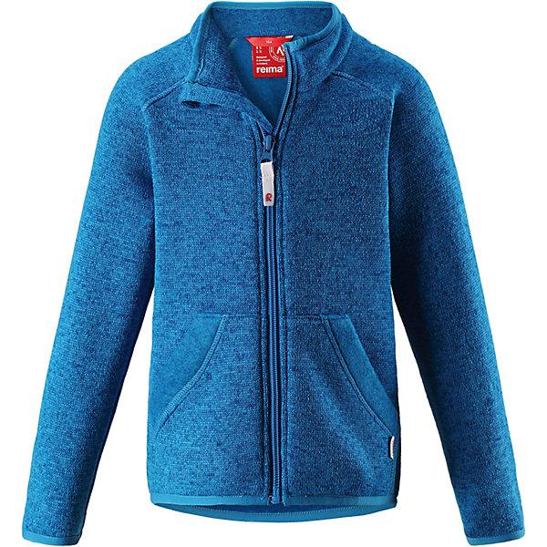 Флисовая кофта Reima HopperФлис и термобелье<br>Характеристики товара:<br><br>• цвет: голубой;<br>• состав: 100% полиэстер;<br>• сезон: зима;<br>• застежка: молния по всей длине с защитой подбородка;<br>• мягкий меланжевый флисовый трикотаж: выглядит, как обычный свитер, и обладает всеми преимуществами флиса;<br>• эластичная резинка на воротнике, манжетах и подоле;<br>• удлиненный подол сзади;<br>• два кармана;<br>• страна бренда: Финляндия;<br>• страна изготовитель: Китай.<br><br>Легкая, теплая и мягкая детская куртка с красивой вязкой. Она сшита из мягкого и популярного меланжевого вязаного флиса, который объединил в себе стильный вязаный дизайн и все преимущества флиса: удобный, эластичный и дышащий флис быстро сохнет, выводя влагу в верхние слои одежды. <br>Куртка снабжена молнией во всю длину, чтобы облегчить процесс надевания, и защитой для подбородка, которая не даст поцарапать шею и подбородок. Удлиненная спинка защищает поясницу. Эта флисовая куртка, поддетая под верхнюю одежду, превосходно согреет в морозные зимние дни.<br><br>Флисовая кофта Reima Hopper от финского бренда Reima (Рейма) можно купить в нашем интернет-магазине.<br>Ширина мм: 190; Глубина мм: 74; Высота мм: 229; Вес г: 236; Цвет: синий; Возраст от месяцев: 18; Возраст до месяцев: 24; Пол: Унисекс; Возраст: Детский; Размер: 92,140,134,128,122,116,110,104,98; SKU: 6902009;