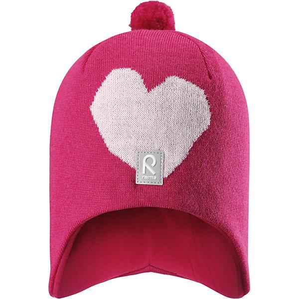 Шапка Reima Vadelma для девочкиШапки и шарфы<br>Характеристики товара:<br><br>• цвет: розовый;<br>• состав: 100% шерсть;<br>• подкладка: 95% хлопок, 5% эластан;<br>• без дополнительного утепления;<br>• сезон: зима;<br>• температурный режим: от 0 до -20С;<br>• мягкая ткань из мериносовой шерсти для поддержания идеальной температуры тела;<br>• ветронепроницаемые вставки в области ушей;<br>• шапка с помпоном сверху;<br>• логотип Reima® спереди;<br>• страна бренда: Финляндия;<br>• страна изготовитель: Китай.<br><br>Мягкая и удобная шапка для малышей отлично подойдет для теплых солнечных деньков. Она сделана из мягкой мериносовой шерсти, которая превосходно регулирует температуру. Снабжена полной подкладкой из мягкого приятного хлопкового трикотажа и ветронепроницаемыми вставками в области ушей. Сплошная жаккардовая узорная вязка. Помпон на макушке довершает образ!<br><br>Шапку Vadelma для девочки Reima от финского бренда Reima (Рейма) можно купить в нашем интернет-магазине.<br>Ширина мм: 89; Глубина мм: 117; Высота мм: 44; Вес г: 155; Цвет: розовый; Возраст от месяцев: 36; Возраст до месяцев: 48; Пол: Женский; Возраст: Детский; Размер: 50,56,54,52; SKU: 6902588;