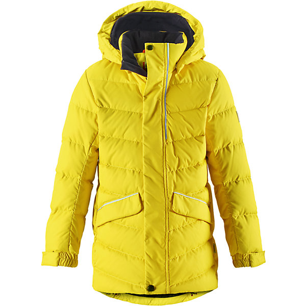 Куртка Reima Janne для мальчикаОдежда<br>Характеристики товара:<br><br>• цвет: желтый;<br>• состав: 100% полиэстер;<br>• подкладка: 100% полиэстер;<br>• утеплитель: 60% пух, 40; перо;<br>• сезон: зима;<br>• температурный режим: от 0 до -30С;<br>• водонепроницаемость: 5000 мм;<br>• воздухопроницаемость: 2000 мм;<br>• износостойкость: 10000 циклов (тест Мартиндейла);<br>• водо- и ветронепроницаемый, дышащий и грязеотталкивающий материал;<br>• основные швы проклеены и не пропускают влагу;<br>• застежка: молния с дополнительной планкой;<br>• гладкая подкладка из полиэстера;<br>• безопасный съемный капюшон;<br>• регулируемые манжеты и подол;<br>• петля для дополнительных светоотражающих деталей;<br>• два кармана с кнопками:<br>• светоотражающие детали;<br>• страна бренда: Финляндия;<br>• страна изготовитель: Китай.<br><br>Пуховая куртка для спорта и прогулок по городу. Поверхность с ромбовидным узором добби, утеплитель пух/перо (60/40%). Эта удлиненная модель изготовлена из дышащего, водо и ветронепроницаемого материала. В куртке вашему ребенку будет тепло и уютно в морозный день. Благодаря подкладке из гладкого полиэстера, куртка легко надевается. <br><br>Снабжена безопасным съемным капюшоном, а также регулируемыми манжетами и подолом. Куртка изготовлена из грязеотталкивающего материала, но при этом ее можно сушить в сушильной машине. Она снабжена двумя карманами с клапанами, в одном из которых спрятана удобная петелька. Прикрепите на нее любимый светоотражатель вашего ребенка и обеспечьте ему безопасность и лучшую видимость!<br><br>Куртку Janne для мальчика Reima от финского бренда Reima (Рейма) можно купить в нашем интернет-магазине.<br>Ширина мм: 356; Глубина мм: 10; Высота мм: 245; Вес г: 519; Цвет: желтый; Возраст от месяцев: 144; Возраст до месяцев: 156; Пол: Мужской; Возраст: Детский; Размер: 158,104,164,152,146,140,134,128,122,116,110; SKU: 6903172;