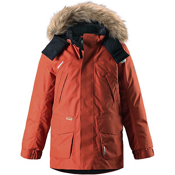 Куртка Reimatec®+ Reima Serkku для мальчикаОдежда<br>Характеристики товара:<br><br>• цвет: оранжевый;<br>• состав: 100% полиэстер;<br>• подкладка: 100% полиэстер;<br>• утеплитель: 60% пух, 40% перо;<br>• сезон: зима;<br>• температурный режим: от 0 до -20С;<br>• водонепроницаемость: 15000 мм;<br>• воздухопроницаемость: 7000 мм;<br>• износостойкость: 40000 циклов (тест Мартиндейла);<br>• водо- и ветронепроницаемый, дышащий и грязеотталкивающий материал;<br>• все швы проклеены и водонепроницаемы;<br>• застежка: молния с дополнительной планкой;<br>• гладкая подкладка из полиэстера;<br>• безопасный съемный капюшон;<br>• съемный искусственный мех на капюшоне;<br>• регулируемые манжеты и подол;<br>• внутренняя регулировка талии;<br>• удлиненный подол сзади;<br>• два прорезных кармана;<br>• нагрудные карманы;<br>• внутренний нагрудный карман;<br>• петля для дополнительных светоотражающих деталей;<br>• светоотражающие детали;<br>• страна бренда: Финляндия;<br>• страна изготовитель: Китай.<br><br>Теплая детская куртка-пуховик сшита из ветронепроницаемого и дышащего материала, который, к тому же, абсолютно водонепроницаемый! Все швы в этой стильной куртке проклеены и водонепроницаемы, что гарантирует максимальный комфорт во время зимних прогулок, при любой погоде. Талия и подол этой удлиненной модели легко регулируются, что позволяет подогнать куртку точно по фигуре. <br><br>Съемный капюшон защищает от пронизывающего ветра и безопасен во время игр на свежем воздухе. Кнопки легко отстегиваются, если капюшон случайно за что-нибудь зацепится. Куртка подшита гладкой подкладкой. Модный образ дополняет капюшон с элегантной оторочкой из искусственного меха, которую при желании также можно снять. В нескольких карманах удобно хранить разные важные предметы во время прогулок.<br><br>Куртку Serkku Reimatec®+ Reima от финского бренда Reima (Рейма) можно купить в нашем интернет-магазине.<br>Ширина мм: 356; Глубина мм: 10; Высота мм: 245; Вес г: 519; Цвет: оранжевый; Возраст от месяцев: 144