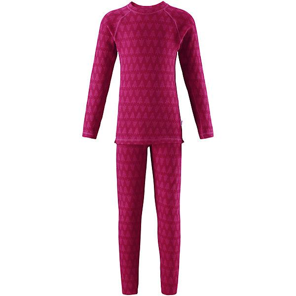 Комплект нижнего белья Reima Taival для девочкиОдежда<br>Характеристики товара:<br><br>• цвет: розовый;<br>• состав: 80% шерсть, 20% полиамид;<br>• сезон: демисезон;<br>• шерсть идеально поддерживает температуру;<br>• мягкие плоские швы для дополнительного комфорта: не раздражают кожу;<br>• удлиненный подол сзади для дополнительной защиты;<br>• эластичная талия;<br>• страна бренда: Финляндия;<br>• страна изготовитель: Китай;<br><br>Детский базовый комплект изготовлен из невероятно мягкого шерстяного жаккарда, который превосходно регулирует температуру, благодаря чему этот комплект можно носить круглый год. Этот материал очень приятный на ощупь, а мягкие плоские швы совершенно не натирают кожу. Эластичный трикотаж плотно сидит, но при этом позволяет свободно двигаться. <br><br>Комплект нижнего белья Taival Reima (Рейма) можно купить в нашем интернет-магазине.<br>Ширина мм: 196; Глубина мм: 10; Высота мм: 154; Вес г: 152; Цвет: розовый; Возраст от месяцев: 84; Возраст до месяцев: 96; Пол: Женский; Возраст: Детский; Размер: 160,80,150,140,130,120,110,100,90; SKU: 6904460;