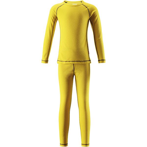Комплект нижнего белья Reima LaniОдежда<br>Характеристики товара:<br><br>• цвет: желтый;<br>• состав: 43% полиэстер termolite, 53% полиэстер, 4% полиэстер sorona; <br>• сезон: демисезон;<br>• теплый материал Thermolite® отводит влагу и сохраняет кожу сухой и приятной, создавая чувство комфорта;<br>• мягкие плоские швы для дополнительного комфорта: не раздражают кожу;<br>• эластичная талия;<br>• удлиненный подол сзади;<br>• страна бренда: Финляндия;<br>• страна изготовитель: Китай;<br><br>Длина внутреннего шва рукава: 49 см<br>Длина спинки: 61 см<br>Длина внутреннего шва брюк:69см<br>Длина внешнего  шва брюк:92см<br><br>Благодаря практичному детскому базовому комплекту, Ваш ребенок может гулять и заниматься спортом в любую погоду. В этом комплекте ребенку будет сухо и тепло, ведь материал Thermolite®, из которого он сшит, эффективно отводит влагу от кожи в верхний слой одежды. Комплект очень удобный и приятный на ощупь, а тонкие плоские швы в замок не натирают кожу. Удлиненная спинка хорошо закрывает и дополнительно защищает поясницу, а лёгкая эластичная резинка на манжетах удобно облегает запястья. <br><br>Комплект нижнего белья Lani Reima (Рейма) можно купить в нашем интернет-магазине.<br>Ширина мм: 196; Глубина мм: 10; Высота мм: 154; Вес г: 152; Цвет: желтый; Возраст от месяцев: 15; Возраст до месяцев: 18; Пол: Унисекс; Возраст: Детский; Размер: 80,160,150,140,130,120,110,100,90; SKU: 6904520;