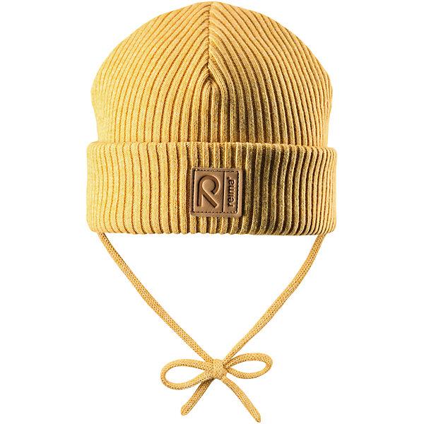 Шапка Reima KastanjaШапочки<br>Характеристики товара:<br><br>• цвет: желтый;<br>• состав: 85% хлопок, 15% шерсть;<br>• температурный режим: от 0 до +10С;<br>• сезон: демисезон; <br>• особенности модели: вязаная, на завязках;<br>• специальный материал обеспечивает дополнительный комфорт<br>• мягкий и удобный трикотаж из смеси хлопка и шерсти<br>• ветронепроницаемые вставки в области ушей<br>• логотип Reima спереди;<br>• страна бренда: Финляндия;<br>• страна изготовитель: Китай.<br><br>Вязаная шапка на завязках для малышей, которая идеально подойдет для ветреной осенней погоды. Шапка сшита из хлопка и шерсти, благодаря плотному материалу и ветронепроницаемым вставкам она надежно защищает кроху от ветра. <br><br>Шапка Kastanja Reima от финского бренда Reima (Рейма) можно купить в нашем интернет-магазине.<br>Ширина мм: 89; Глубина мм: 117; Высота мм: 44; Вес г: 155; Цвет: желтый; Возраст от месяцев: 9; Возраст до месяцев: 12; Пол: Унисекс; Возраст: Детский; Размер: 46-48,50-52; SKU: 6906943;