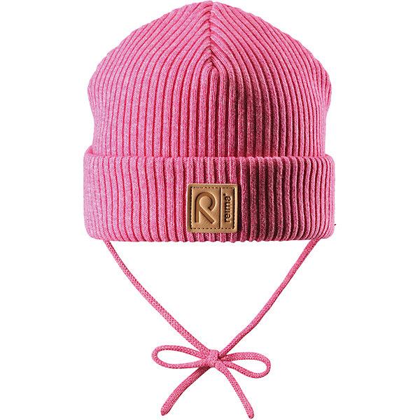 Шапка Reima Kastanja для девочкиШапки и шарфы<br>Характеристики товара:<br><br>• цвет: розовый;<br>• состав: 85% хлопок, 15% шерсть;<br>• температурный режим: от 0 до +10С;<br>• сезон: демисезон; <br>• особенности модели: вязаная, на завязках;<br>• специальный материал обеспечивает дополнительный комфорт<br>• мягкий и удобный трикотаж из смеси хлопка и шерсти<br>• ветронепроницаемые вставки в области ушей<br>• логотип Reima спереди;<br>• страна бренда: Финляндия;<br>• страна изготовитель: Китай.<br><br>Вязаная шапка на завязках для малышей, которая идеально подойдет для ветреной осенней погоды. Шапка сшита из хлопка и шерсти, благодаря плотному материалу и ветронепроницаемым вставкам она надежно защищает кроху от ветра. <br><br>Шапка Kastanja Reima от финского бренда Reima (Рейма) можно купить в нашем интернет-магазине.<br>Ширина мм: 89; Глубина мм: 117; Высота мм: 44; Вес г: 155; Цвет: розовый; Возраст от месяцев: 9; Возраст до месяцев: 12; Пол: Женский; Возраст: Детский; Размер: 46-48,50-52; SKU: 6906946;