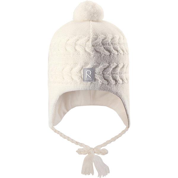 Шапка Reima Hiutale для девочкиШапки и шарфы<br>Характеристики товара:<br><br>• цвет: белый;<br>• состав: 100% шерсть;<br>• подкладка: 97% хлопок, 3% эластан;<br>• температурный режим: от 0 до -20С;<br>• сезон: зима; <br>• особенности модели: вязаная, шерстяная;<br>• мягкая ткань из мериносовой шерсти для поддержания идеальной температуры;<br>• ветронепроницаемые вставки в области ушей;<br>• сплошная подкладка: гладкий хлопковый трикотаж;<br>• шапка на завязках, сверху помпон;<br>• логотип Reima спереди;<br>• страна бренда: Финляндия;<br>• страна изготовитель: Китай.<br><br>Красивая шерстяная шапка для малышей станет отличным вариантом на зимние холода! Шапка связана из мериносовой шерсти и снабжена уютной и мягкой трикотажной подкладкой. Ветронепроницаемые вставки защищают ушки в ветреную погоду, а завязки-косички, структурная вязка и веселый помпон довершают образ.<br><br>Шапку Hiutale для девочки Reima от финского бренда Reima (Рейма) можно купить в нашем интернет-магазине.<br>Ширина мм: 89; Глубина мм: 117; Высота мм: 44; Вес г: 155; Цвет: белый; Возраст от месяцев: 9; Возраст до месяцев: 12; Пол: Женский; Возраст: Детский; Размер: 46,52,50,48; SKU: 6907111;