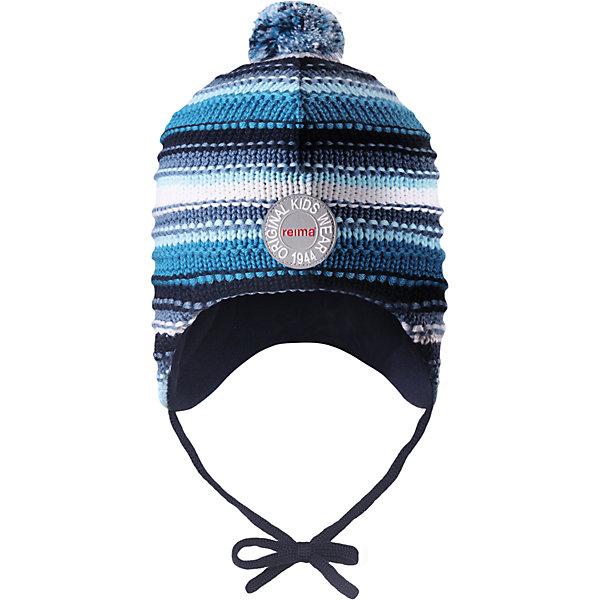 Шапка Reima Kumpu для мальчикаШапки и шарфы<br>Характеристики товара:<br><br>• цвет: синий;<br>• состав: 100% шерсть;<br>• подкладка: 100% полиэстер, флис;<br>• температурный режим: от 0 до -20С;<br>• сезон: зима; <br>• особенности модели: вязаная, шерстяная;<br>• шерсть идеально поддерживает температуру;<br>• ветронепроницаемые вставки в области ушей;<br>• сплошная подкладка: мягкий теплый флис;<br>• шапка на завязках, сверху помпон;<br>• логотип Reima спереди;<br>• страна бренда: Финляндия;<br>• страна изготовитель: Китай.<br><br>Эта шапка из мериносовой шерсти подарит уют в морозную погоду: мягкая подкладка из флиса обеспечит ребенку тепло и комфорт. Шерстяная шапка с флисовой подкладкой идеально подходит для маленьких любителей приключений на свежем воздухе, ведь флис быстро сохнет и выводит влагу. За счет эластичной вязки шапка отлично сидит, а ветронепроницаемые вставки в области ушей защищают ушки от холодного ветра. Благодаря завязкам, эта стильная шапка не съезжает и хорошо защищает голову. Создайте стильный теплый образ: сочетайте шапку с горловиной Star!<br><br>Шапку Kumpu Reima от финского бренда Reima (Рейма) можно купить в нашем интернет-магазине.<br>Ширина мм: 89; Глубина мм: 117; Высота мм: 44; Вес г: 155; Цвет: синий; Возраст от месяцев: 36; Возраст до месяцев: 48; Пол: Мужской; Возраст: Детский; Размер: 50,52,48,46; SKU: 6907236;