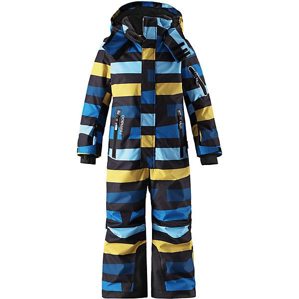 Комбинезон Reimatec® Reima Reach для мальчикаОдежда<br>Характеристики товара:<br><br>• цвет: синий;<br>• состав: 100% полиэстер;<br>• подкладка: 100% полиэстер;<br>• утеплитель: 140 г/м2<br>• температурный режим: от 0 до -20С;<br>• сезон: зима; <br>• водонепроницаемость: 15000/12000 мм;<br>• воздухопроницаемость: 8000/7000 мм;<br>• износостойкость: 35000/80000 циклов (тест Мартиндейла);<br>• водо- и ветронепроницаемый, дышащий и грязеотталкивающий материал;<br>• прочные усиленные вставки внизу брючин;<br>• все швы проклеены и водонепроницаемы;<br>• гладкая подкладка из полиэстера;<br>• эластичные манжеты;<br>• застежка: молния с защитой подбородка;<br>• безопасный съемный и регулируемый капюшон на кнопках;<br>• регулируемые манжеты и внутренние манжеты из лайкры;<br>• регулируемый обхват талии;<br>• снегозащитные манжеты на штанинах;<br>• карманы на молнии, карман slipass на рукаве;<br>• кармана с креплением для сенсора ReimaGO®;<br>• светоотражающие детали;<br>• страна бренда: Финляндия;<br>• страна изготовитель: Китай.<br><br>Абсолютно непромокаемый и прочный детский зимний комбинезон Reimatec® с полностью проклеенными швами. Сверхпрочные усиления на концах брючин. Этот практичный комбинезон изготовлен из ветронепроницаемого и дышащего материала, поэтому вашему ребенку будет тепло и сухо, к тому же он не вспотеет. Комбинезон снабжен гладкой подкладкой из полиэстера. <br><br>В этом комбинезоне прямого кроя талия при необходимости легко регулируется, что позволяет подогнать комбинезон точно по фигуре. Кроме того, он снабжен регулируемыми манжетами и внутренними манжетами из лайкры. Съемный и регулируемый капюшон защищает от пронизывающего ветра, а еще он безопасен во время игр на свежем воздухе. Кнопки легко отстегиваются, если капюшон случайно за что-нибудь зацепится. <br><br>Два кармана на молнии, карман для лыжной карты и специальный карман для сенсора ReimaGO®. Материал имеет грязеотталкивающую поверхность, и при этом его можно сушить в сушильной машине. Светоот
