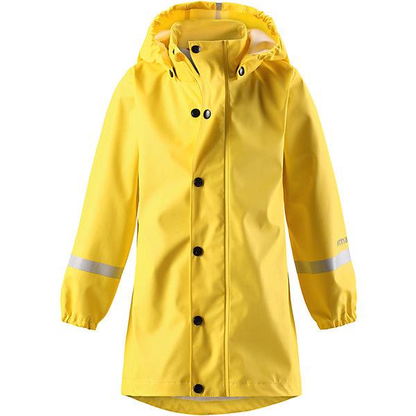 Плащ-дождевик Reima Vatten для девочкиОдежда<br>Характеристики товара:<br><br>• цвет: желтый;<br>• состав: 100% полиэстер;<br>• подкладка: 100% полиэстер;<br>• температурный режим: от +15 до -15С;<br>• сезон: демисезон; <br>• запаянные швы, не пропускающие влагу;<br>• эластичный материал;<br>• без ПВХ;<br>• гладкая подкладка из полиэстера;<br>• эластичные манжеты;<br>• застежка: молния с дополнительной планкой на кнопках;<br>• безопасный съемный капюшон;<br>• трапециевидная форма с удлиненным сзади подолом;<br>• светоотражающие детали;<br>• страна бренда: Финляндия;<br>• страна изготовитель: Китай.<br><br>Куртка-дождевик изготовлена из удобного, эластичного материала, не содержащего ПВХ. Швы запаяны и абсолютно водонепроницаемы. Новый трапециевидный силуэт с удлиненной спинкой обеспечивает эффективную защиту от дождя. <br>Куртка-дождевик не деревенеет на морозе, поэтому ее можно носить круглый год – просто добавьте в холодную погоду теплый промежуточный слой. Съемный капюшон защитит даже от ливня, при этом он безопасен во время прогулок в дождливый день. Молния спереди во всю длину и множество светоотражающих деталей.<br><br><br>Плащ-дождевик Vatten для девочки Reima от финского бренда Reima (Рейма) можно купить в нашем интернет-магазине.<br>Ширина мм: 356; Глубина мм: 10; Высота мм: 245; Вес г: 519; Цвет: желтый; Возраст от месяцев: 72; Возраст до месяцев: 84; Пол: Женский; Возраст: Детский; Размер: 122,104,140,134,128,116,110; SKU: 6907704;