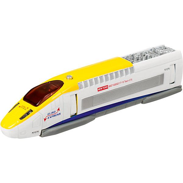 Скоростной поезд Roadsterz Euro Express, HTIЖелезные дороги<br>Характеристики товара:<br><br>• возраст: от 3 лет;<br>• материал: пластик, металл;<br>• тип батареек: 3 батарейки LR41;<br>• наличие батареек: демонстрационные в комплекте;<br>• размер упаковки: 21х9х5 см;<br>• вес упаковки: 210 гр.;<br>• страна производитель: Китай.<br><br>Скоростной поезд Roadsterz Euro Express HTI — поезд, выполненный в белом цвете и украшенный логотипом компании Euro Express. Игрушка оснащена световыми и звуковыми эффектами, которые активируются нажатием кнопки на крыше поезда. Выполнена из качественных прочных материалов.<br><br>Скоростной поезд Roadsterz Euro Express HTI можно приобрести в нашем интернет-магазине.<br>Ширина мм: 50; Глубина мм: 210; Высота мм: 90; Вес г: 210; Возраст от месяцев: 36; Возраст до месяцев: 144; Пол: Мужской; Возраст: Детский; SKU: 6908021;