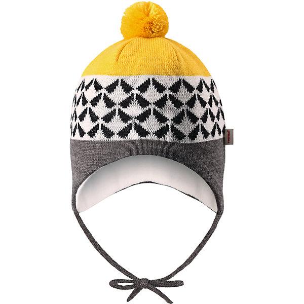 Шапка Reima UnonenШапки и шарфы<br>Характеристики товара:<br><br>• цвет: желтый/серый;<br>• состав: 50% шерсть, 50% полиакрил;<br>• подкладка: 97% хлопок, 3% эластан;<br>• температурный режим: от 0 до -20С;<br>• сезон: зима; <br>• особенности модели: на подкладке, на завязках;<br>• сплошная подкладка: гладкий хлопковый трикотаж;<br>• шерсть идеально поддерживает температуру;<br>• ветронепроницаемые вставки в области ушей;<br>• мягкая подкладка из хлопка и эластана;<br>• задние швы отсутствуют;<br>• шапка на завзках, сверху помпон;<br>• логотип Reima сбоку;<br>• страна бренда: Финляндия;<br>• страна изготовитель: Китай.<br><br>Теплая вязаная шапка на завязках для новорожденных изготовлена из шерсти и превосходно подходит для ветреных зимних дней. Ветронепроницаемые вставки в области ушей защищают от пронизывающего ветра, а мягкая и приятная трикотажная подкладка бережно касается нежной кожи малыша. Образ завершает симпатичный жаккардовый узор и помпон.<br><br>Шапка Unonen Reima от финского бренда Reima (Рейма) можно купить в нашем интернет-магазине.<br>Ширина мм: 89; Глубина мм: 117; Высота мм: 44; Вес г: 155; Цвет: желтый; Возраст от месяцев: 0; Возраст до месяцев: 3; Пол: Унисекс; Возраст: Детский; Размер: 34-36,42-44,38-40; SKU: 6908778;