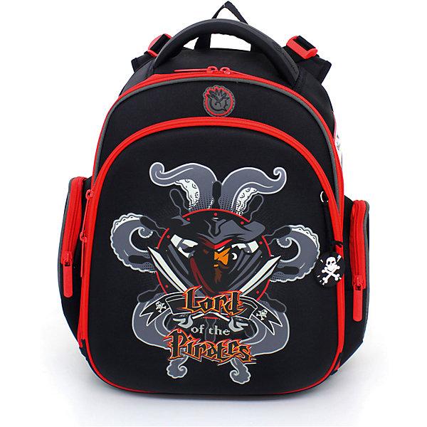 Рюкзак школьный Hummingbird Lord Of The Pirates + мешок для обувиРюкзаки<br>Характеристики товара:<br><br>• начальная школа (1-4 классы), средняя школа (5-7 классы);<br>• каркас: жесткий;<br>• светоотражающие элементы;<br>• материал: полиуретан;<br>• объем: 20л;<br>• спинка: жесткая, ортопедическая;<br>• количество отделений внутри:1;<br>• боковые карманы;<br>• замок: молния;<br>• дно: жесткое;<br>• подойдет для возраста какого 7-12 лет для роста 116-152;<br>• вес: 1305 гр.;<br>• размер: 34х23х38см;<br>• страна бренда:Россия;<br>• страна производства: Китай.<br><br>Ранец Lord of the Pirates специально разработан для первоклассника. В его конструкции воплощены самые последние мировые разработки в области ортопедических школьных ранцев. Отлично держит форму. <br><br>Благодаря ортопедической анатомической конструкции, нагрузка на позвоночник ребенка минимальна и распределяется равномерно. Спинка дышащая. с рельефными сетчатыми подушками. «ERGO SYSTEM» позволяет регулировать крепления лямок ранца по высоте в зависимости от предпочтений и индивидуальных особенностей строения спины ребёнка. <br><br>Широкие и мягкие лямки в форме маечки обеспечивают низкую посадку. Ранец состоит из двух внутренних отделений: отделения с жесткими перегородками для тетрадей и учебников (они фиксируют учебники и не дают им перемещаться при движении) и отделения-органайзера. Имеется нагрудный регулируемый поддерживающий ремень, способствующий равномерному распределению веса ранца (перенос части его веса с плеч на талию и бедра). <br><br>Удобная ручка-переноска и петелька, за которую можно повесить ранец. Мешок для обуви в комплекте.<br><br>Hummingbird Ранец LORD OF THE PIRATES, черно-красный можно купить в нашем интернет-магазине.<br>Ширина мм: 340; Глубина мм: 230; Высота мм: 380; Вес г: 1315; Возраст от месяцев: 72; Возраст до месяцев: 2147483647; Пол: Мужской; Возраст: Детский; SKU: 6909783;