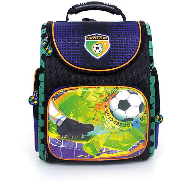 Ранец Hummingbird Soccer Club, Мяч + мешок для обувиРанцы<br>Характеристики товара:<br><br>• в комплекте: мешок для обуви;<br>• начальная школа (1-4 классы);<br>• светоотражающие элементы;<br>• материал: полиуретан;<br>• объем: 20л;<br>• спинка: жесткая, ортопедическая;<br>• количество отделений внутри:2;<br>• боковые карманы;<br>• замок: молния;<br>• дно: жесткое;<br>• подойдет для возраста какого 7-10 лет для роста 116-146;<br>• вес: 910 гр.;<br>• размер: 28х18х38см;<br>• страна бренда:Россия;<br>• страна производства: Китай.<br><br> <br>Ранец Soccer Club Мяч сделан из светоотрожающих и непромокаемых материалов. Отлично держит форму. Полностью раскладывается при помощи вшитых молний, что позволяет ранец легко чистить как снаружи, так и внутри. Благодаря ортопедической конструкции, нагрузка на позвоночник ребенка минимальна и распределяется равномерно. <br><br>Мягкие эластичные лямки в форме майки. Ранец состоит из двух внутренних отделений: отделения с жесткими перегородками для тетрадей и учебников (они фиксируют учебники и не дают им перемещаться при движении) и отделения-органайзера. <br><br>Имеется нагрудный регулируемый поддерживающий ремень, способствующий равномерному распределению веса ранца (перенос части его веса с плеч на талию и бедра). Удобная ручка-переноска и петелька, за которую можно повесить ранец.<br><br>Hummingbird Ранец Soccer Club Мяч, серо-синий для мальчика можно купить в нашем интернет-магазине.<br>Ширина мм: 280; Глубина мм: 180; Высота мм: 380; Вес г: 1310; Возраст от месяцев: 72; Возраст до месяцев: 2147483647; Пол: Мужской; Возраст: Детский; SKU: 6909786;