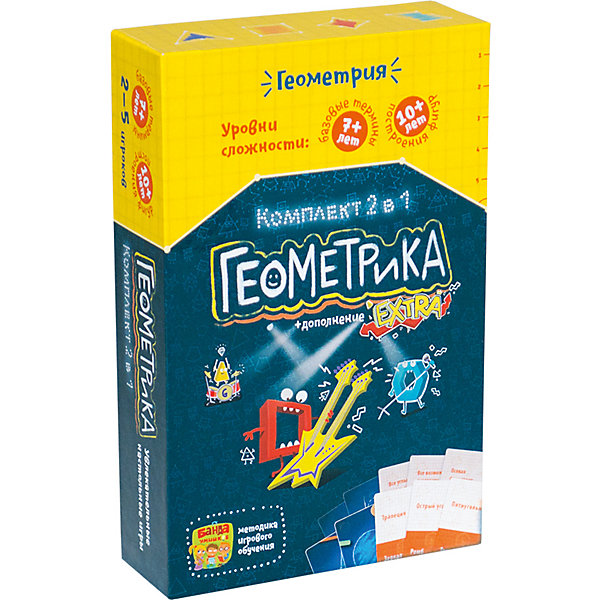 Развивающая настольная игра  Геокомплект 2 в 1, Банда УмниковОбучающие игры для дошкольников<br>Характеристики товара:<br><br>• возраст: от 6 лет<br>• комплект: 2 игры.<br>• количество предполагаемых игроков: 2-5.<br>• время игры: 30-40 мин.<br>• материал: картон, бумага, пластик.<br>• размер упаковки: 12 х 4 х 18 см.<br>• упаковка: картонная коробка.<br>• страна бренда: Россия.<br><br>Настольные игры Геометрика и Геометрика EXTRA от компании Банда умников поможет детям разобраться в мире геометрических фигур через увлекательную игру. С помощью карточек разной сложности они легко и быстро научатся находить заданные признаки и решать математические задачки, воспользовавшись специальной линейкой, которая также входит в комплект.<br><br>Развивающую настольную игру  Геокомплект 2 в 1 можно купить в нашем интернет-магазине.<br>Ширина мм: 180; Глубина мм: 120; Высота мм: 40; Вес г: 333; Возраст от месяцев: 72; Возраст до месяцев: 2147483647; Пол: Унисекс; Возраст: Детский; SKU: 6912294;