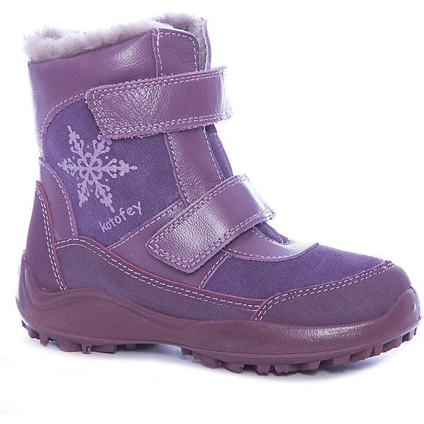 Купить Ботинки для девочки Котофей, Россия, фиолетовый, Женский
